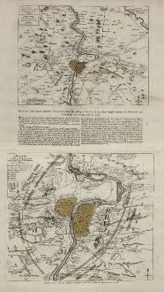 Antique Maps, Jefferys, Czechia - Bohemia, Prague, Praha, 1757: A Map of the Country round Prague ... / A Plan of the City of Prague with the Prussian Camp and Batteries 1757.