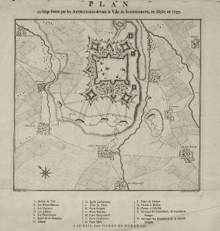 Antique Maps, de Hondt, Poland, Silesia, Schweidnitz, Swidnica, 1758: Plan du Siège formé par les Autrichiens devant la Ville de Schweidnitz, en Silesie, en 1757.