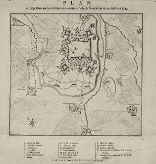 Antike Landkarten, de Hondt, Polen, Schlesien, Schweidnitz, 1758: Plan du Siège formé par les Autrichiens devant la Ville de Schweidnitz, en Silesie, en 1757.