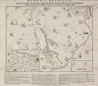 Antike Landkarten, de Hondt, Polen, Schlesien, Leuthen, 1758: Plan de la Bataille, gagnée par Sa Majesté le Roi de Prusse, sur l'Armée Autrichienne, aux ordres de S.A.R de Duc Charles...