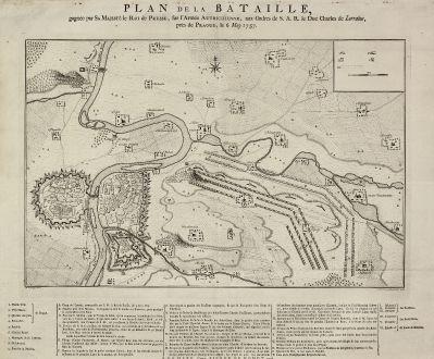Antique Maps, de Hondt, Czechia - Bohemia, Prague, Praha, 1758: Plan de la Bataille, gagnée par Sa Majesté le Roi de Prusse, sur l'Armée Autrichienne, aux ordres de S.A.R de Duc Charles...
