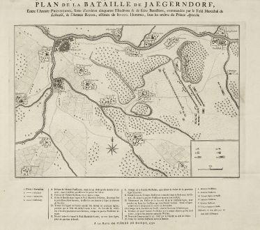 Antike Landkarten, de Hondt, Tschechien - Böhmen, Jägerndorf, 1758: Plan de la Bataille de Jaegerndorf, Entre l'Armée Prussienne, forte d'environ cinquante Escadrons & de seize Bataillions...