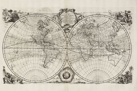 Antike Landkarten, Bowen, Weltkarte, 1747: A New & Accurate Map of All the Known World ...