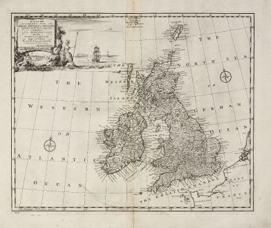 Antike Landkarten, Bowen, Britische Inseln, 1747: A New and Accurate Map of Great Britain & Ireland, together with their respective Islands