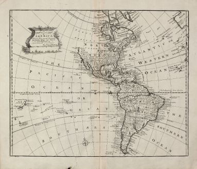 Antike Landkarten, Bowen, Amerika Kontinent, 1747: A New General Map of America.