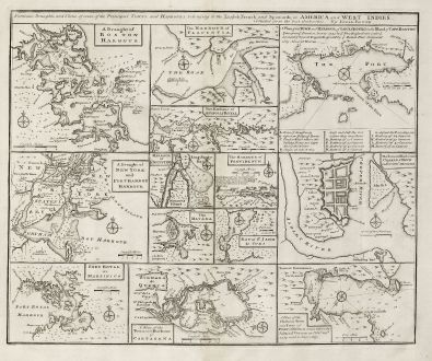 Antike Landkarten, Bowen, Nordamerika, New York, Boston, 1747: Particular Draughts and Plans of Some of the Principal Towns and Harbours Belonging to the English, French, and Spaniards,...