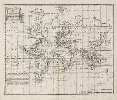 Antike Landkarten, Bowen, Weltkarte, 1747: A New & Accurate Chart of the World.