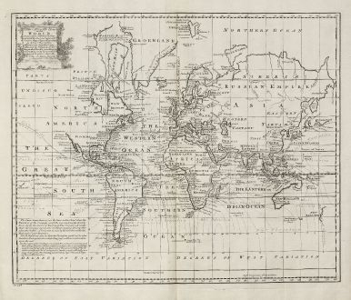 Antike Landkarten, Bowen, Weltkarten, 1747: A New & Accurate Chart of the World.