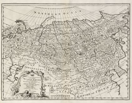 Antike Landkarten, Bowen, Russland, 1747: A New & Accurate Map of the Whole Russian Empire, as contain'd both in Europe and Asia.