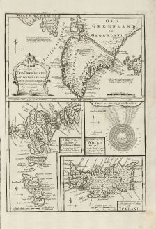 Antike Landkarten, Bowen, Skandinavien, Island, Grönland, Färöer Inseln, 1747: A Map of Old Greenland or Oster Bygd & Wester Bygd ... An Improved Map of Iceland ... A Map of the Islands of Ferro ... A...