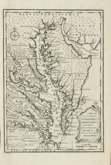 Antike Landkarten, Bowen, Nordamerika, Virginia, Maryland, 1747: A New and Accurate Map of Virginia & Maryland. Laid Down from Surveys and Regulated by Astronl. Observatns.