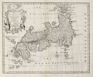 Antique Maps, Bowen, Japan - Korea, 1747: A New and Accurate Map of the Empire of Japan Laid down from the Memoirs of the Portuguese and Dutch and ... the Jesuit...