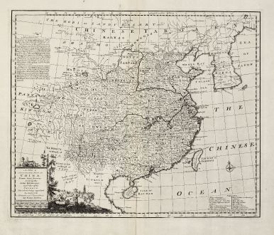 Antike Landkarten, Bowen, China, 1747: A New & Accurate Map of China. Drawn from Surveys made by the Jesuit Missionaries, by Order of the Emperor.