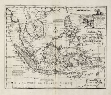 Antike Landkarten, Bowen, Südost Asien, 1747: A New and Accurate Map of the East India Islands ...