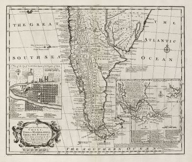 Antique Maps, Bowen, South America, Tierra del Fuego, Santiago, Magellan: A New and Accurate Map of Chili, Terra Magellanica, Terra del Fuego &c.
