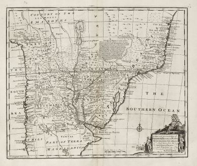 Antique Maps, Bowen, South America, Brazil, Peru, Bolivia, Paraguay, Uruguay: A New and Accurate Map of Paraguay, Rio de la Plata, Tucumania Guaria &c.