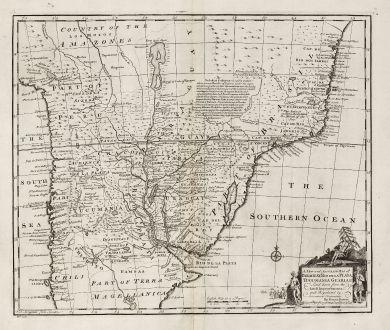 Antike Landkarten, Bowen, Südamerika, Brasilien, Peru, Bolivien, Paraguay, Uruguay: A New and Accurate Map of Paraguay, Rio de la Plata, Tucumania Guaria &c.