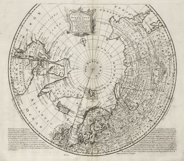 Antique Maps, Bowen, North Pole, 1747: A New & Accurate Map of the North Pole, with All the Countries Hitherto Discovered Situated Near or Adjacent to it as Well...
