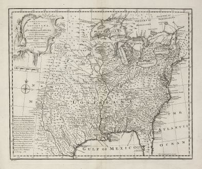 Antike Landkarten, Bowen, Nordamerika, Louisiana, Florida, Kanada, 1747: A New & Accurate Map of Louisiana, with Part of Florida and Canada, and the Adjacent Countries.