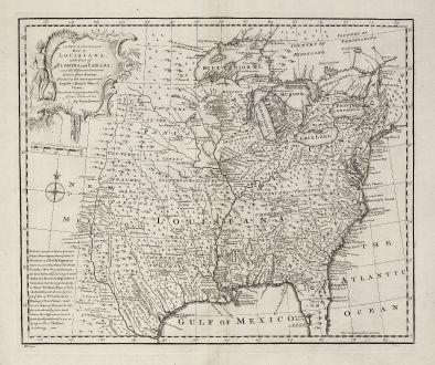 Antike Landkarten, Bowen, Nordamerika, Louisiana, Florida, Kanada, 1747: A New & Accurate Map of Louisiana, with Part of Florida and Canada, and the Adjacent Countries.
