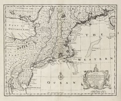 Antique Maps, Bowen, North America, New Jersey, New York, Pennsylvania, Boston: A New and Accurate Map of New Jersey, Pensilvania, New York and New England with the Adjacent Countries.
