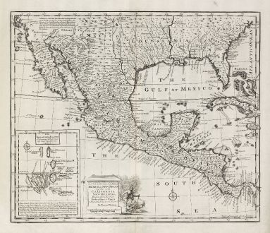 Antike Landkarten, Bowen, Nordamerika, Mexiko, Florida, Kalifornien, Louisiana: A New & Accurate Map of Mexico or New Spain together with California, New Mexico &c.