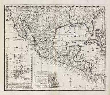 Antike Landkarten, Bowen, Nordamerika, Mexiko, Florida, Kalifornien, Louisiana: A New & Accurate Map of Mexico or New Spain together with California, New Mexico &c.