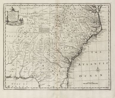 Antike Landkarten, Bowen, Nordamerika, North Carolinas, South Carolina, Georgia: A New & Accurate Map of the Provinces of North & South Carolina Georgia &c.