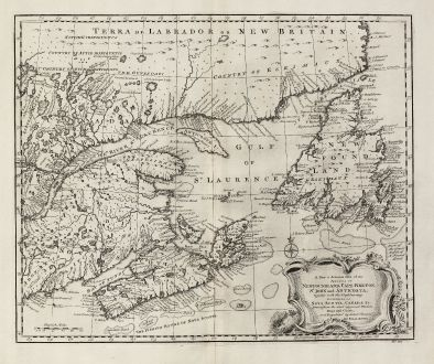 Antique Maps, Bowen, North America, Canada, Newfoundland, 1747: A New & Accurate Map of the Islands of Newfoundland, Cape Breton, St. John and Anticosta, Together with the Neighbouring...