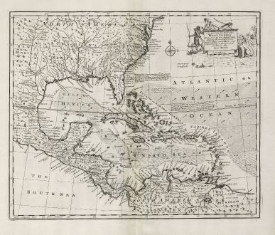 Antique Maps, Bowen, Central America - Caribbean, West Indies, Florida, Mexico: An Accurate Map of the West Indies.
