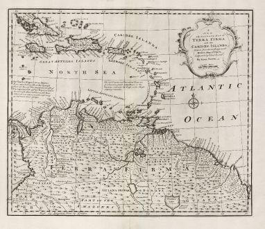 Antike Landkarten, Bowen, Mittelamerika - Karibik, Karibik, Venezuela, 1747: A New and Accurate Map of Terra Firma and the Caribbe Islands.