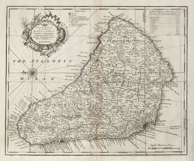 Antike Landkarten, Bowen, Mittelamerika - Karibik, West Indies, Barbados, 1747: An Accurate Map of the Island of Barbadoes.