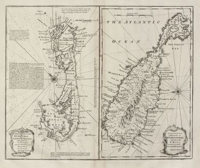 Antique Maps, Bowen, Central America - Caribbean, Bermuda, St. Kitts, 1747: A New & Accurate Map of Bermudas or Sommer's Islands, Taken from an Actual Survey, wherein the Errors of Former Charts are...