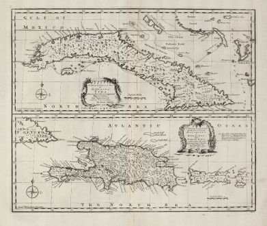 Antike Landkarten, Bowen, Mittelamerika - Karibik, Kuba, Hispaniola, Puerto Rico: A New & Accurate Map of the Island of Cuba Drawn from Most Approved Maps ... A New & Accurate Map of the Islands of...