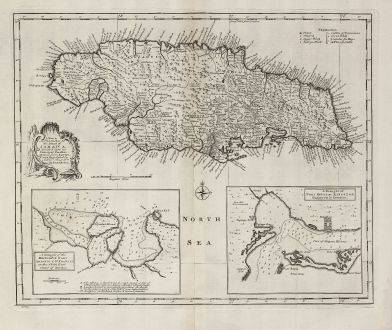 Antike Landkarten, Bowen, Mittelamerika - Karibik, Jamaica, 1747: A New & Accurate Map of the Island of Jamaica. Divided into its Principal Parishes ...