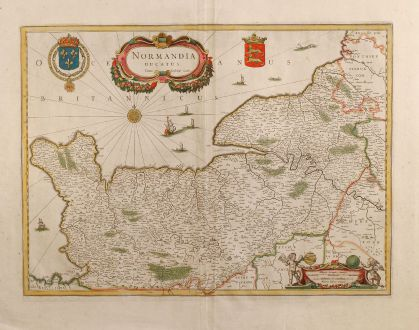 Antique Maps, Janssonius, France, Normandy, 1650: Normandia Ducatus