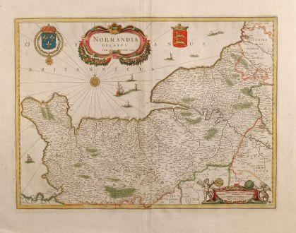 Antike Landkarten, Janssonius, Frankreich, Normandie, 1650: Normandia Ducatus