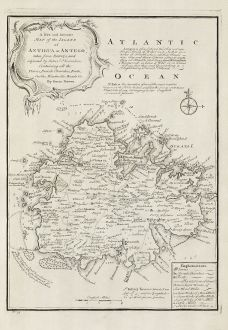 Antike Landkarten, Bowen, Mittelamerika - Karibik, West Indies, Antigua, 1747: A New and Accurate Map of the Island of Antigua or Antego ... Containing All the Towns, Parish Churches, Forts, Castles,...