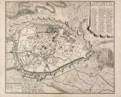 Antike Landkarten, Covens and Mortier, Belgien, Brüssel, 1740: Plan de la ville de Brusselle, Ville Noble au Duche de Brabant, et les delices des Pays Bas.