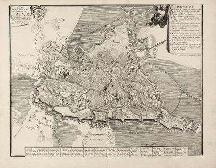 Antike Landkarten, Covens and Mortier, Belgien, Gent, 1740: Plan de la ville et citadelle de Gand qui fut assigée par les Hauts-Allièz le 18 décembre 1708, où l'on ouvrit la...