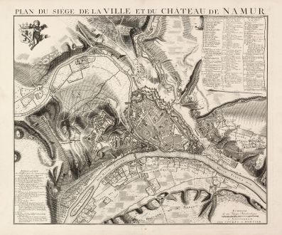 Antique Maps, Covens and Mortier, Belgium, Namur, 1746: Plan du Siége de la Ville et du Château de Namur