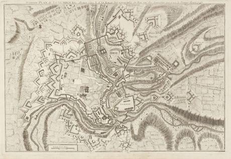 Antique Maps, le Rouge, Luxembourg, 1745: Nouveau Plan de Luxembourg