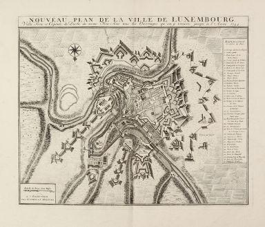 Antike Landkarten, Covens and Mortier, Luxemburg, 1744: Nouveau Plan De La Ville De Luxembourg. Ville Forte et Capitale du Duche ... 1744