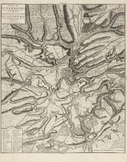 Antike Landkarten, Covens and Mortier, Luxemburg, 1745: Plan de Luxembourg de ses Nouvelles Fortifications et de ses Environs.