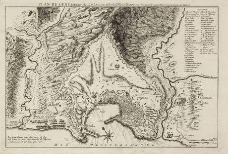 Antike Landkarten, le Rouge, Italien, Genua, 1745: Plan de Genes