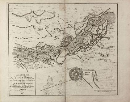 Antique Maps, le Rouge, Germany, Vieux-Brisach, Neuf-Brisach, 1743: Les environs du Vieux Brisac, La Position de l'Isle de Rheinach ... Le Rouge Ing.r Geographe du Roy ... a Paris ... 1743.