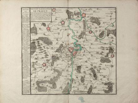 Antique Maps, Jombert, Czechia - Bohemia, Praha, Prague, 1742: Nouveau Plan de la Ville de Prague Et de ses Environs, Capiltale de Bohème ...