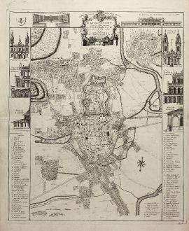 Antike Landkarten, le Rouge, Frankreich, Nancy, 1752: Plan de Nancy Avec les Changements que le Roy de Pologne Duc de Lorraine et de Bar a fait Dedié à sa Majesté Polonoise...