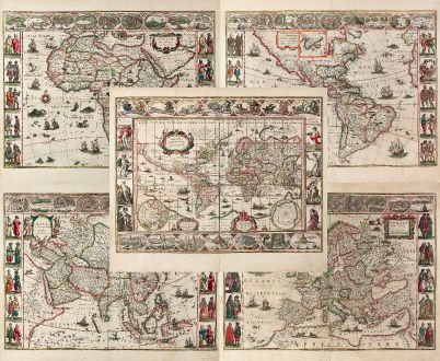 Antique Maps, Blaeu, World and Continents, 1640: Nova Totius Terrarum Orbis Geographica ac Hydrographica Tabula auct: Guiljelmo Blaeuw [and] Africae nova descriptio [and]...