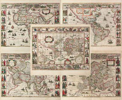 Antique Maps, Blaeu, World and Continents, 1640: Nova Totius Terrarum Orbis Geographica ac Hydrographica Tabula auct: Guiljelmo Blaeuw [and] Africae nova descriptio [and]...